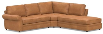 Pottery Barn Pearce Roll Arm Leather 3-Piece Bumper Sectional