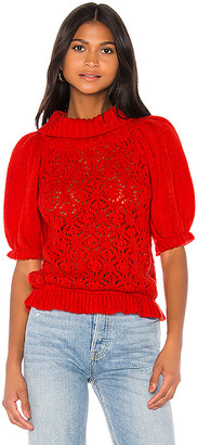 For Love & Lemons Francois Puff Sleeve Pointelle sweater
