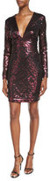 Tadashi Shoji Long-Sleeve Sequin Grid Sheath Dress, Raisin