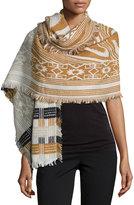 Neiman Marcus Geometric-Print Knit Scarf, Rust/Multi
