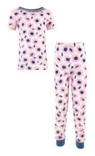 Touched by Nature Big Girls and Boys Blossoms Tight-Fit Pajama Set, Pack of 2