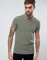 BOSS ORANGE by Hugo Boss Slim Polo Washed Pique in Green
