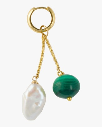 Haute Victoire Single Charm Malachite Pearl Earring