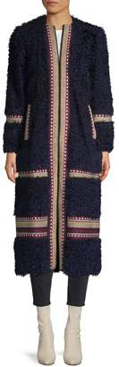 RED Valentino Embroidered Shearling Wool-Blend Long Coat