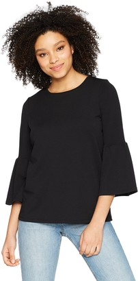 Kensie Women's Stretchy Crepe Bell Sleeve Top