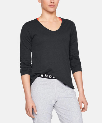 Under Armour Women's Tee Shirts BLACK - Black Pinhole Cutout Long-Sleeve Top - Women