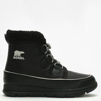 Sorel Cozy Carnival Black Lace Up Sporty Fleece Lined Boot