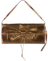 Sergio Rossi Leather Bow-Accent Clutch