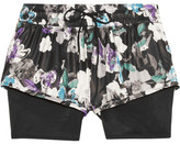 adidas by Stella McCartney Layered Floral-print Shell And Mesh Shorts - Black