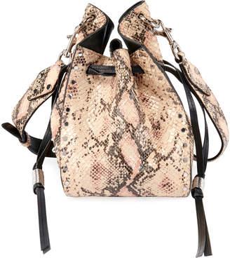 Isabel Marant Radja Snake-Print Leather Bucket Bag