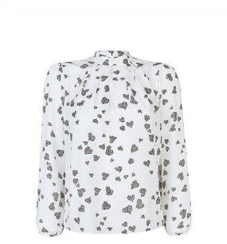 Dorothy Perkins Womens Billie & Blossom Petite White Heart Print Long Sleeve Top, White