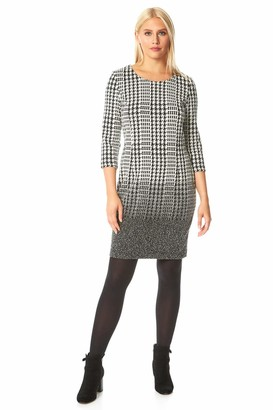 Roman Originals Women Dogtooth Gingham Print 3/4 Sleeve Shift Dress - Ladies Smart Casual Office Work Meeting Interview Ombre Fitted A-Line Knee Length Round Neck Day Dresses - Black - Size 20