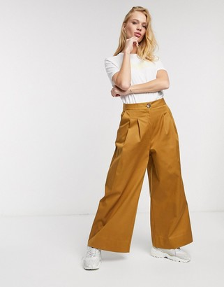 Selected milla high waisted wide leg satin tailored pants co ord in brown
