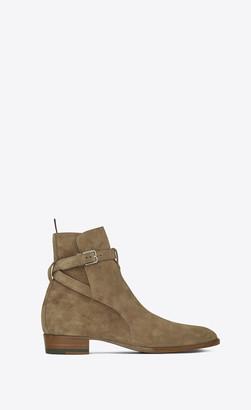 Saint Laurent Wyatt Jodhpur Boots In Suede Light Tobacco 11