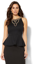 New York & Co. 7th Avenue - Jeweled Peplum Top