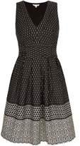Yumi Monochrome Print Midi Dress