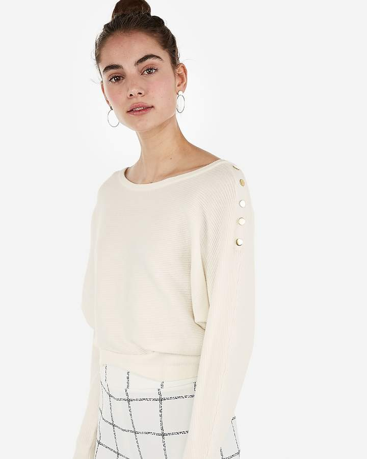 Express Banded Horizontal Rib Button Sleeve Sweater