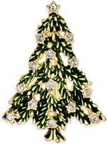 Charter Club Gold-Tone Crystal Evergreen Brooch, Only at Macy's
