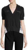 Sacai V-Neck Short-Sleeve Knit Sweater with Bandana-Print Back, Black