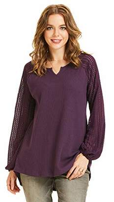 SONJA BETRO Women's Thermal Knit Notch Neck Crochet Lace Sleeve Tunic Top//