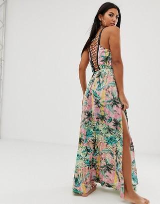 Asos DESIGN ombre tropical print beach maxi dress with lattice back
