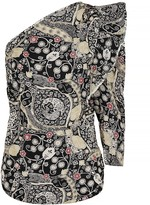 Etoile Isabel Marant Carina printed one-shoulder top