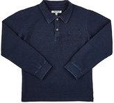Nupkeet Cotton Long-Sleeve Polo Shirt-BLUE
