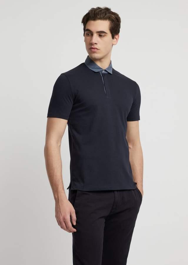 02e36e0c49 Polo Shirt In Stretch Cotton Pique With Chambray Collar