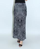 Gray & Black Ornate Skull Maxi Skirt