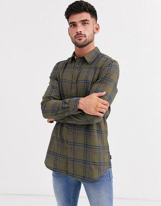Paul Smith tailored fit check shirt in khaki-Green