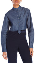Alexis Mabille Long Sleeve Denim Cropped Shirt