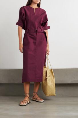 3.1 Phillip Lim - Belted Cotton-blend Poplin Midi Dress - Burgundy
