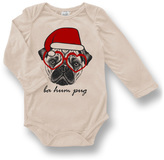 Urban Smalls Cream 'Ba Hum Pug' Long-Sleeve Bodysuit - Infant