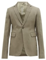 Rick Owens Single-breasted Cropped Wool Blazer - Mens - Grey