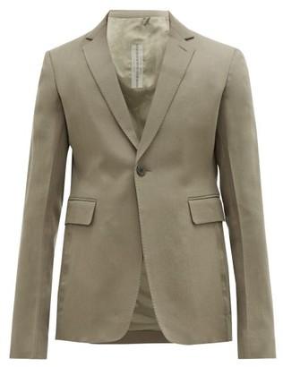 Rick Owens Single-breasted Cropped Wool Blazer - Mens - Grey