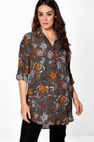 Boohoo Plus Josey Oversized Floral Print Shirt