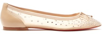 Christian Louboutin Patio Crystal-embellished Mesh Ballet Flats - Nude
