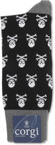 Corgi Skull-Patterned Cotton-Blend Socks