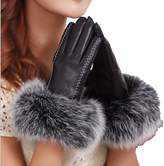 King Star Cashmere Lined Lambskin Leather Wool-Lined Gloves Fox Fur Trim