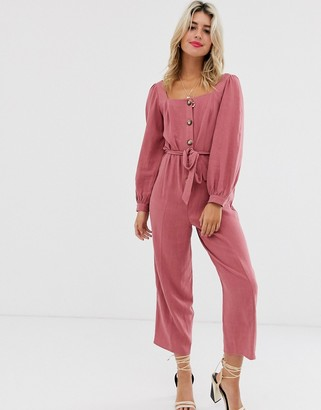 ASOS DESIGN button front tie waist puff sleeve jumpsuit with long sleeves