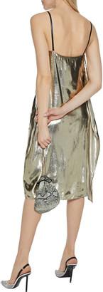 Helmut Lang Draped Metallic Velvet Slip Dress