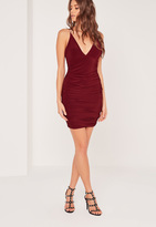 Missguided Slinky Double Strap Ruche Bodycon Dress Burgundy
