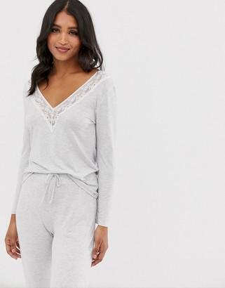 Dorina Heather long sleeve modal lounge top in gray
