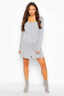 boohoo Maternity Button Front Long Sleeve Nightie