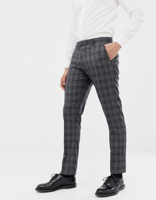 Farah Smart slim fit check suit trousers in grey