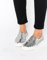 London Rebel Cut Out Slip On Sneakers