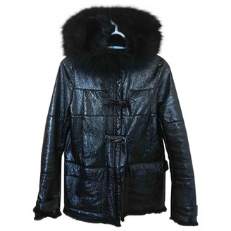 Meteo Black Leather Coat for Women