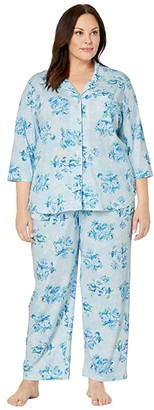 Karen Neuburger Plus Size Marie Antoinette 3/4 Sleeve Girlfriend Long PJ (Floral Blue) Women's Pajama Sets