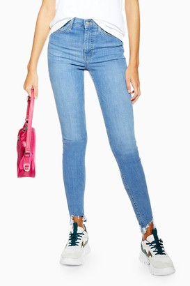 Topshop Womens Tall Bleach Jaggered Hem Jamie Skinny Jeans - Bleach Stone