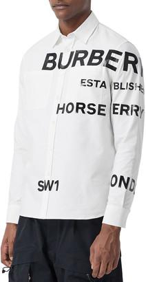 Burberry Men's Topham Logo Typographic Sport Shirt